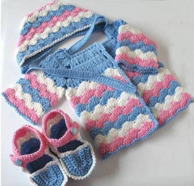 Схема вязания спицами пинеток для малыша и кардигана
